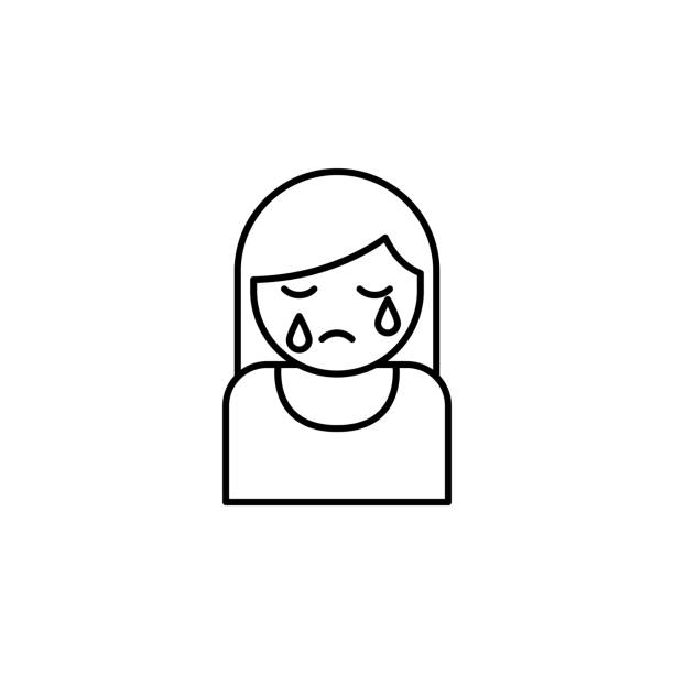 stockillustraties, clipart, cartoons en iconen met vrouw, huilen, death overzicht icoon. gedetailleerde set van death illustraties iconen. kan worden gebruikt voor het web, logo, mobiele app, ui, ux - funeral crying
