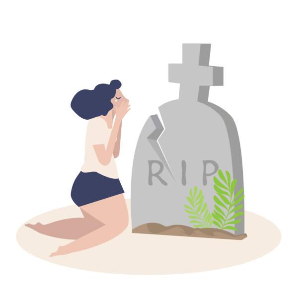 stockillustraties, clipart, cartoons en iconen met vrouw huilen voorkant van een graf vector - funeral crying