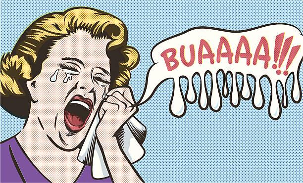 Woman crying vector art illustration
