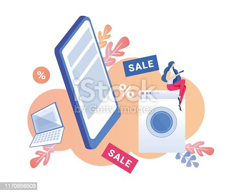Customer, Urban Busy Woman, Willing to Save Some Money for Family Budget, Considering Purchases, Like Washing Machine, Laptop or Pad, at Sale Price in Electronics and Domestic Appliances Store.