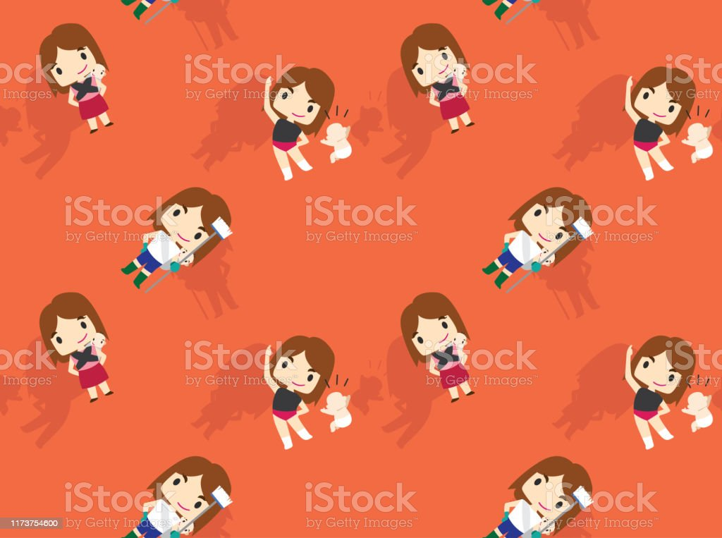 Woman Cute Character Cartoon With Baby Housemaid Background Seamless Wallpaper01 Stock Illustration Download Image Now Istock