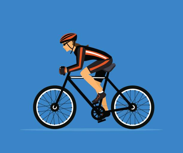 Woman cycling. Sport Fitness Training. active people vector illustration vector art illustration