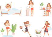 Woman daily routine. Business lady time management life every day process working mother vector cartoon characters. Illustration of daily routine, workday and yoga