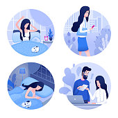 Woman daily routine flat vector illustrations set. Young female entrepreneur, office worker cartoon character. Waking up, going to work, paperwork, night rest. Businesswoman everyday schedule