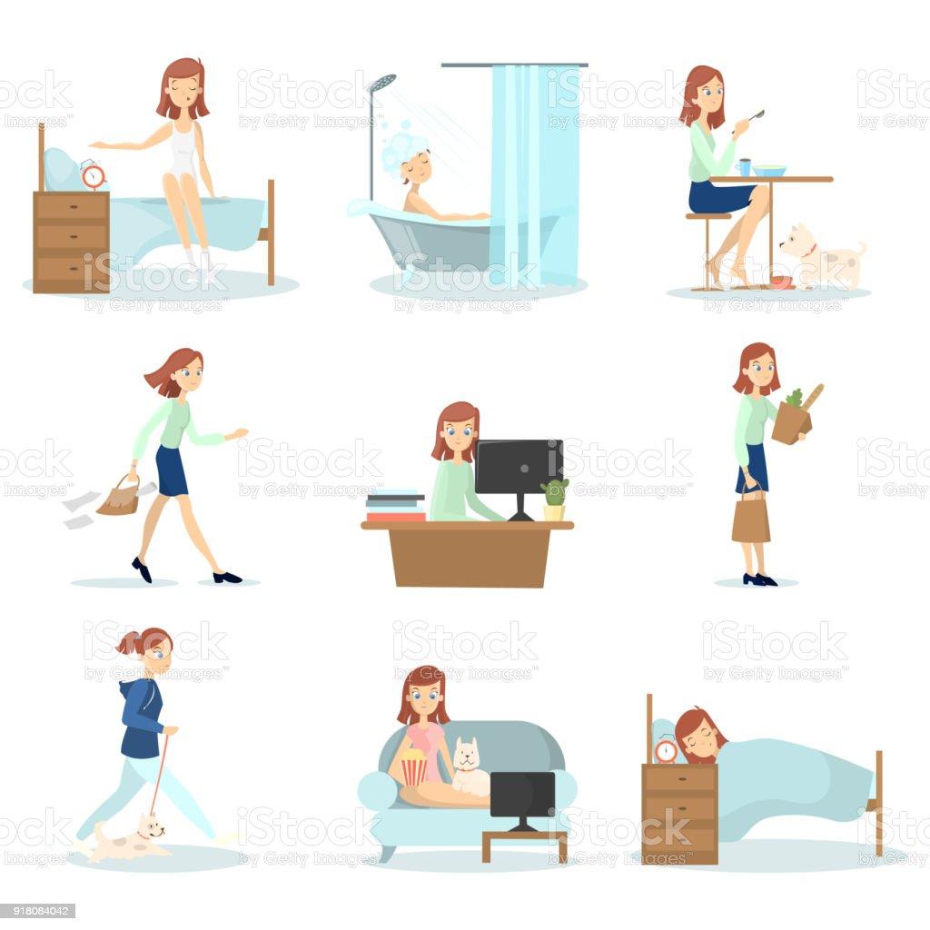 rutina diaria de la mujer ilustracin de rutina diaria de la mujer y ms banco