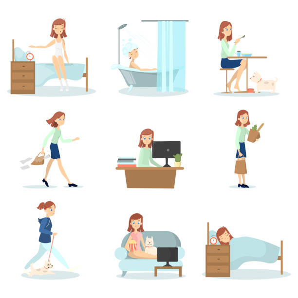 Woman daily routine. vector art illustration