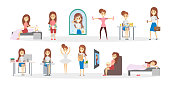 Woman daily routine. Everyday schedule with illustration.