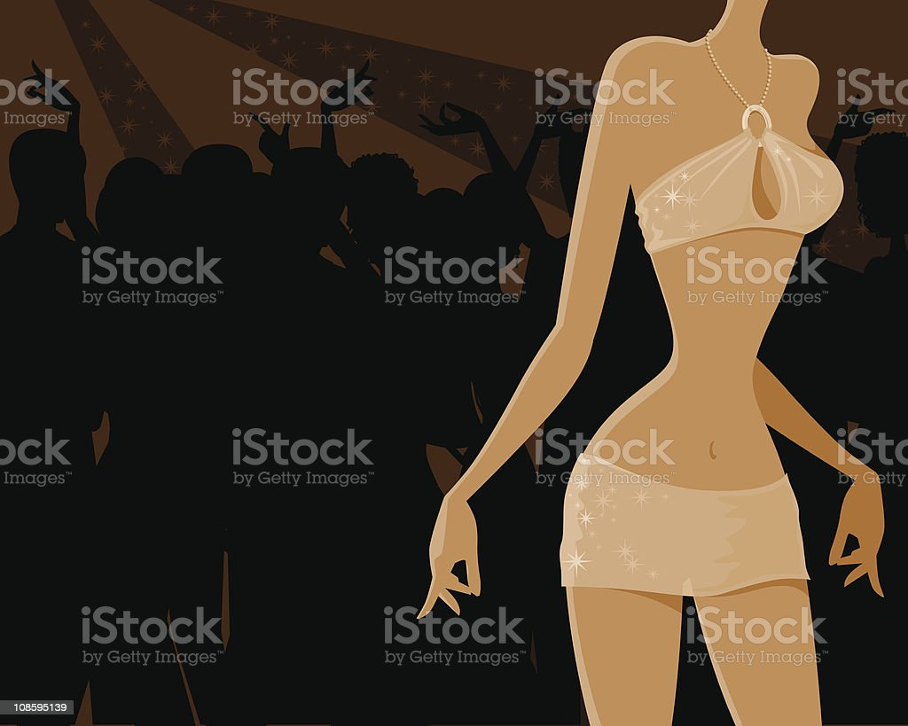 Woman Dancing at a Nightclub royalty-free stock vector art