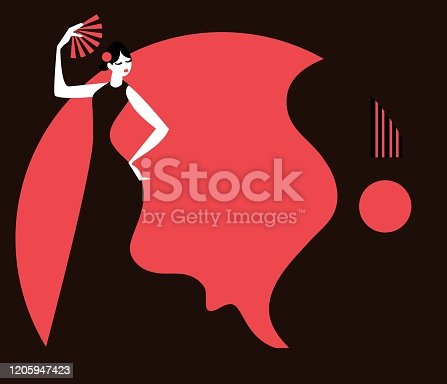 istock woman dancing flamenco and guitar on the night 1205947423