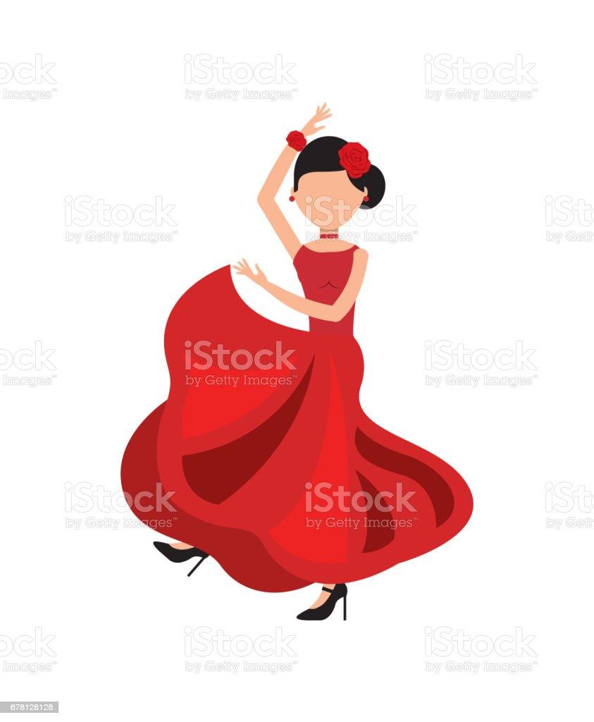 Woman Dancing Flamenco Classic Icon Of Spanish Culture Stock Vector