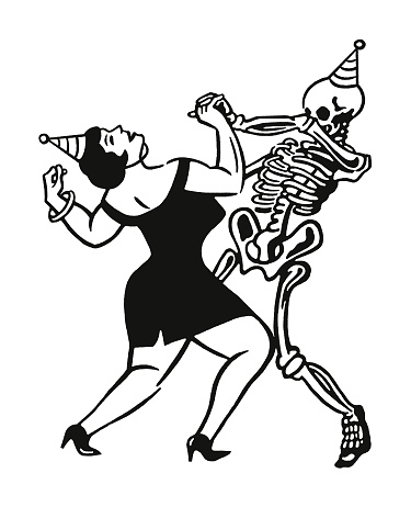 Woman Dancing with a Skeleton