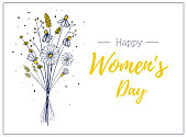 woman day template gift card. . Hand drawn bouquet of wildflowers. Light and delicate flower vector illustration