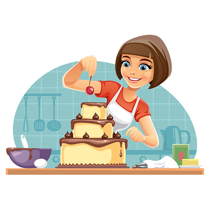 Woman decorates a Cake
