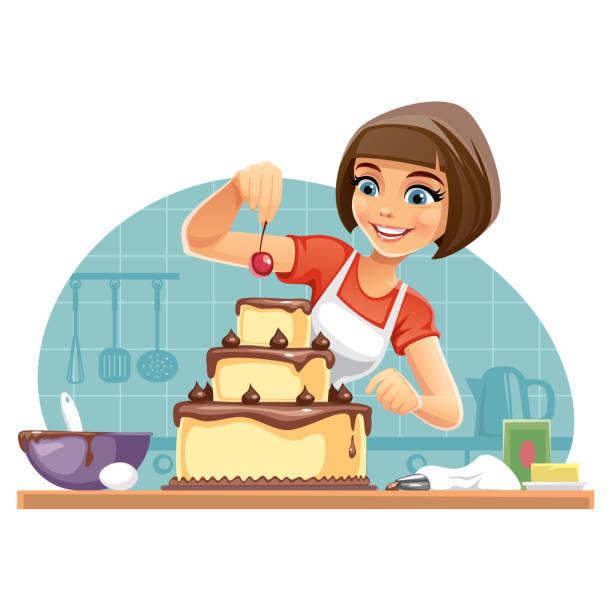 ilustrações de stock, clip art, desenhos animados e ícones de woman decorates a cake - cooker happy