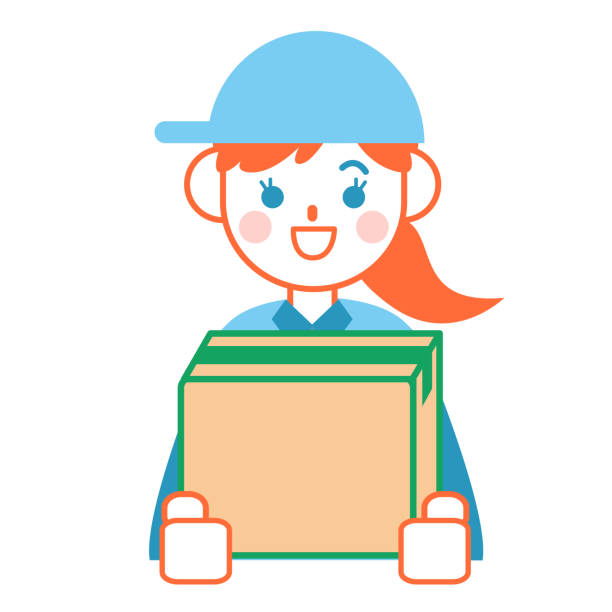 Woman deliveryman with a cardboard box vector art illustration
