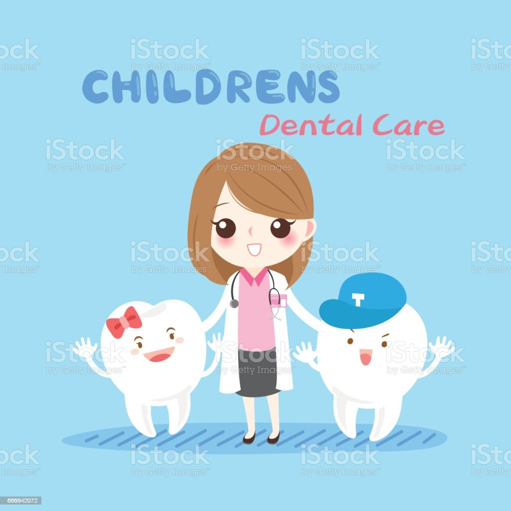 woman dentist with tooth vector art illustration