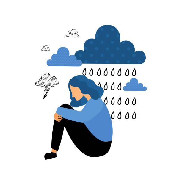 女性のうつ病 - 女性 落ち込む点のイラスト素材/クリップアート素材/マンガ素材/アイコン素材