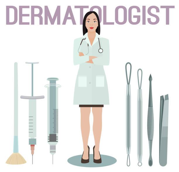 ilustraciones, imágenes clip art, dibujos animados e iconos de stock de imagen de mujer dermatólogo - dermatología