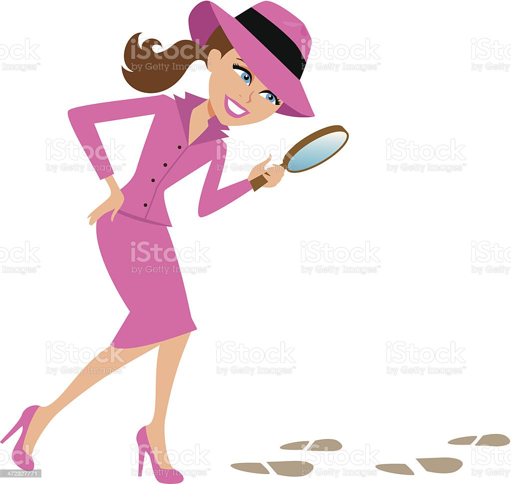 Woman Detective with Magnifying Glass Looking for Clues vector art illustration