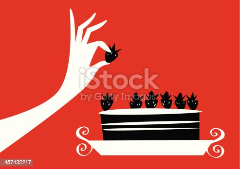 Cook the cake testing just kitchen. Cakes and pastries. Pastry tasting her cake. Take a fruit. Strawberry and chocolate cake. Fruit Tart. Silhouette woman hand skips the regime. Woman who is dieting alone gets a fruit cake. Woman selecting only fruit cake. Woman with strong will.