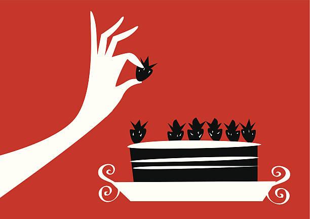 Dieta a mujer comiendo tarta de fresa. - ilustración de arte vectorial