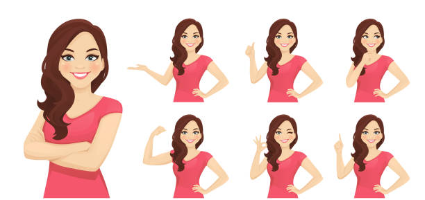illustrazioni stock, clip art, cartoni animati e icone di tendenza di woman different gestures - donna