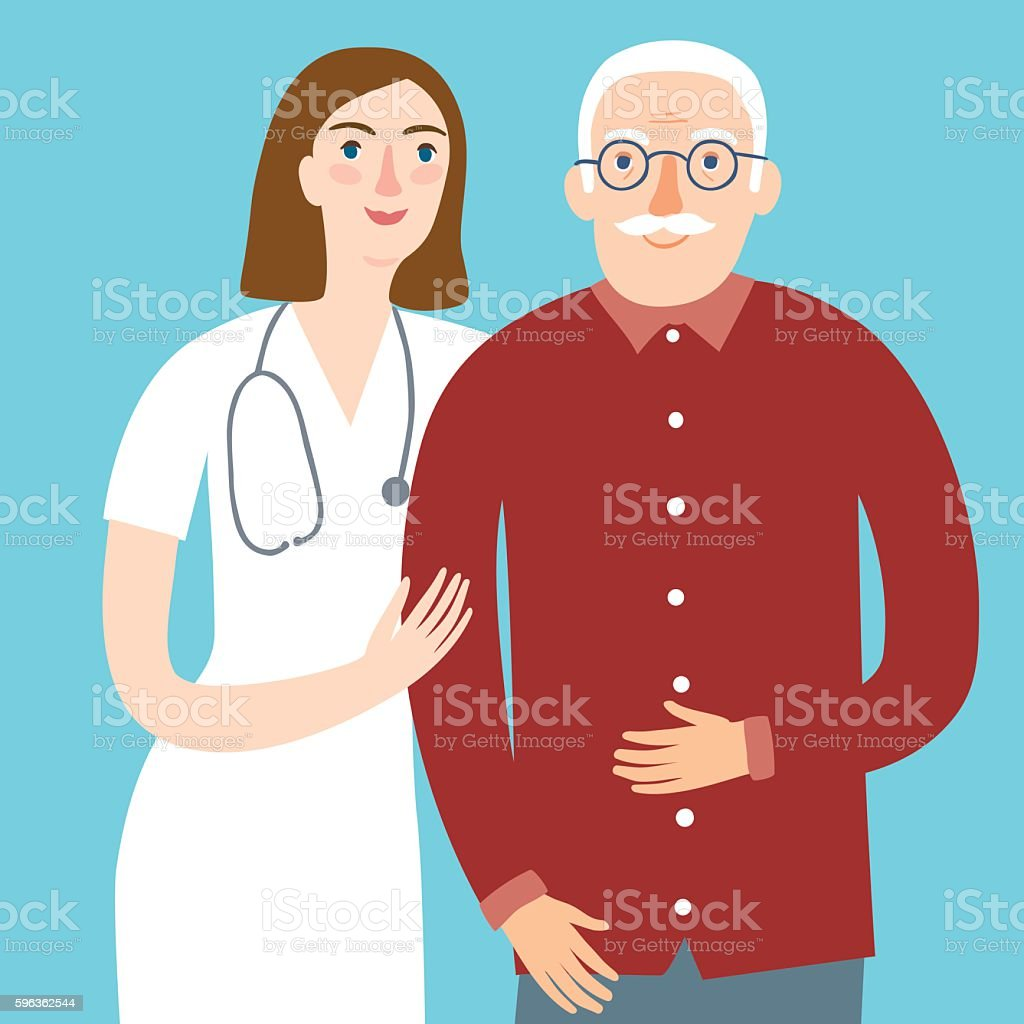 Woman Doctor And And Old Man Stock Vector Art & More Images of Adult