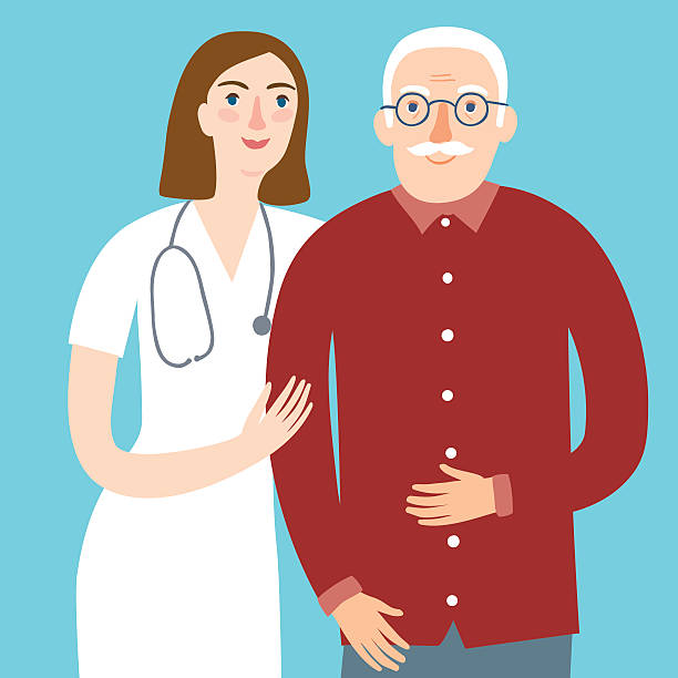 woman doctor and and old man - old man smile silhouette stock illustrations