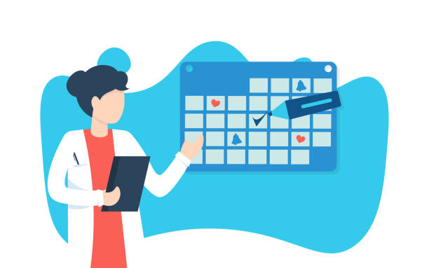 woman doctor and calendar, marker vector art illustration