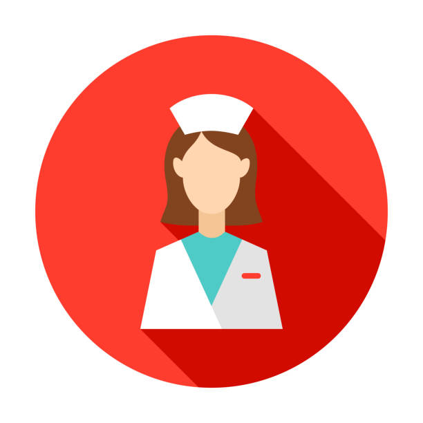 Woman Doctor Circle Icon Woman Doctor Circle Icon. Vector Illustration with Long Shadow. Medicine Item. medico stock illustrations