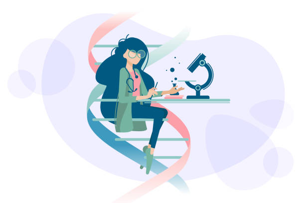 Woman doctor examines DNA microscope Woman doctor scientist examines human DNA using microscope. Vector illustration microbiology stock illustrations