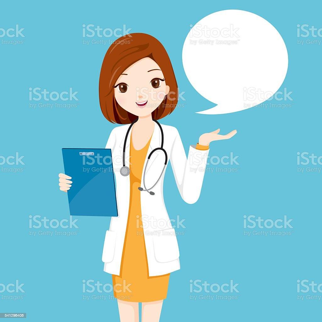 Frau Arzt hält Zwischenablage sprechen – Vektorgrafik