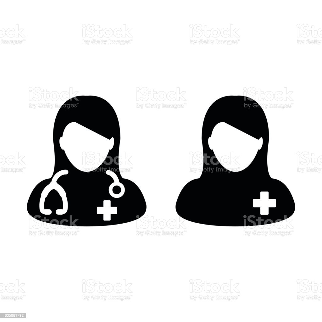 Woman Doctor Icon with Patient for Medical Assistant Glyph Pictogram vector art illustration