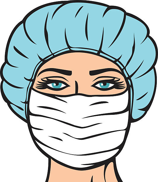 woman doctor in surgical mask nurse with mask and cap surgical cap stock illustrations