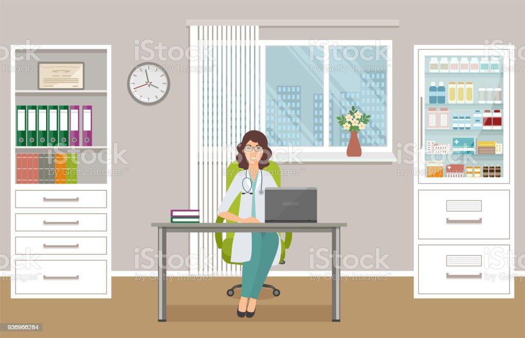 Frau Doktor In Uniform Am Schreibtisch Im Büro Des Arztes. Medizinische  Beratung Innenraum. Lizenzfreies