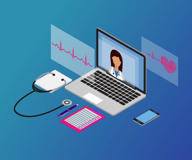 woman doctor, laptop, 3d isometric 3-2 stet - telemedicine stock illustrations