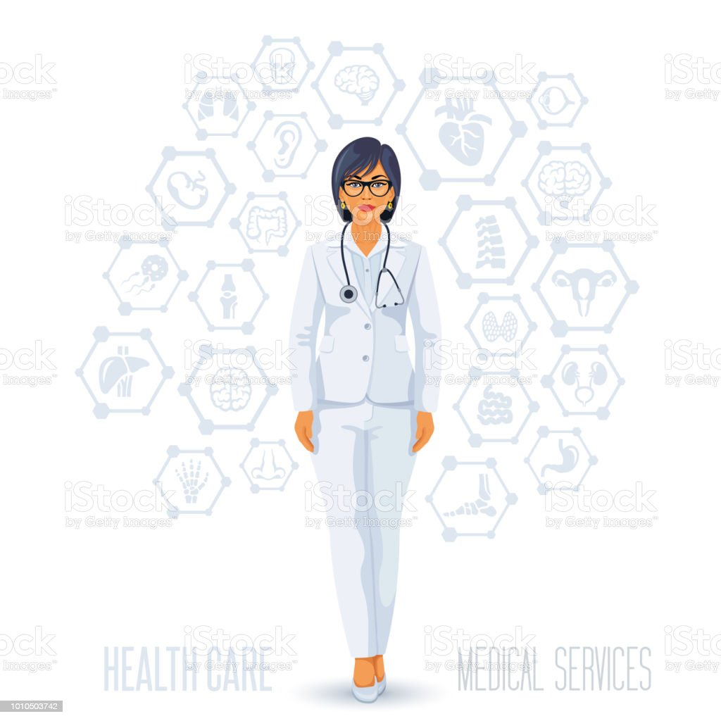 Woman doctor. Medical concep vector art illustration