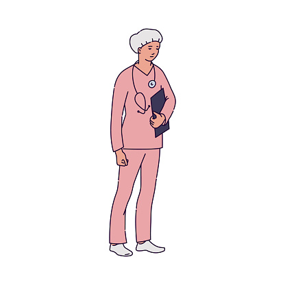 Woman doctor practitioner in uniform sketch cartoon vector illustration isolated.