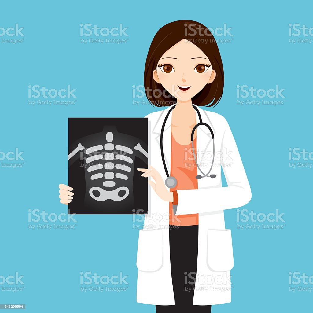 Woman Doctor Showing X-ray Film vector art illustration
