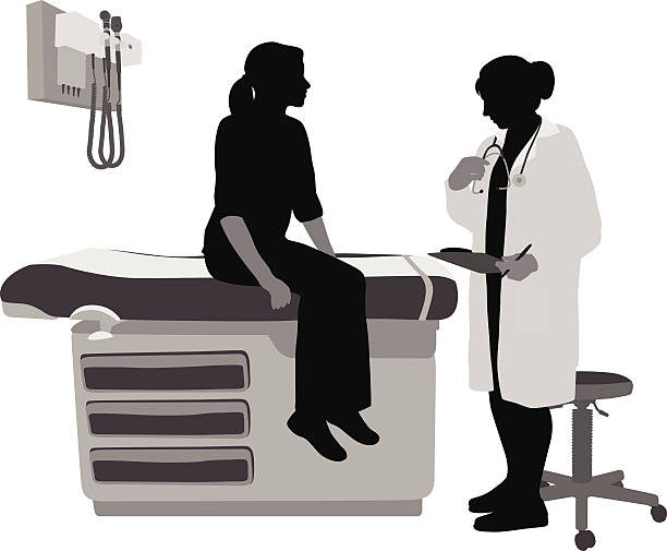 Woman Doctor A vector silhouette illustration of a female doctor assessing the symptoms of a young female patient. doctor and patient stock illustrations