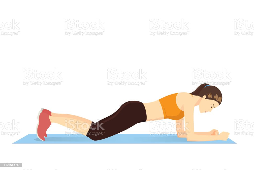 Woman Doing Abdominal Exercise Body With Knee Plank Position On Blue Mat Stock Illustration Download Image Now Istock