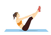 Woman doing abdominal workout with v-ups exercise.