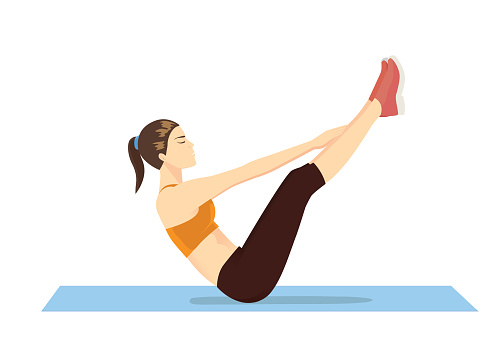 Woman Doing Abdominal Workout With Vups Exercise Stock Illustration Download Image Now Istock