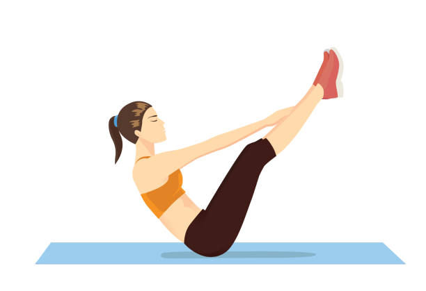 Woman doing abdominal workout with v-ups exercise. vector art illustration