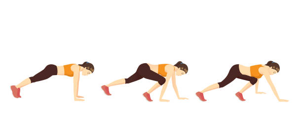 Woman doing Bear Crawl Exercise in 3 step for guide. vector art illustration