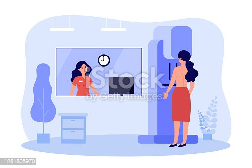 istock Woman doing breast examination in clinic 1281805970