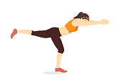 Woman doing Exercise in Single Leg Reach Forward position. Illustration about Abdominal workout posture.