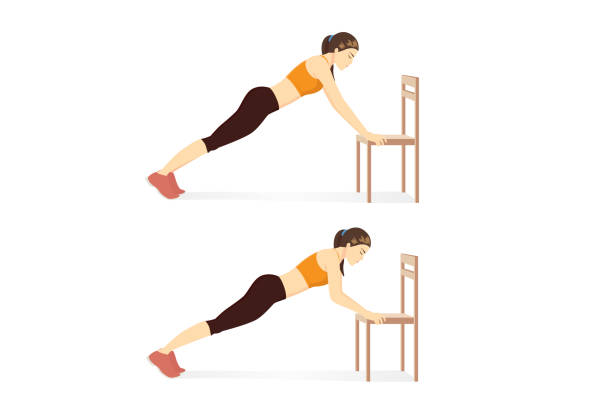 Woman doing exercise with Chair Push Up in 2 step for abs muscles building. vector art illustration