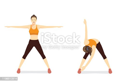 Woman doing exercise with cross body toe touches in 2 Step. Illustratopn about back Stretch.