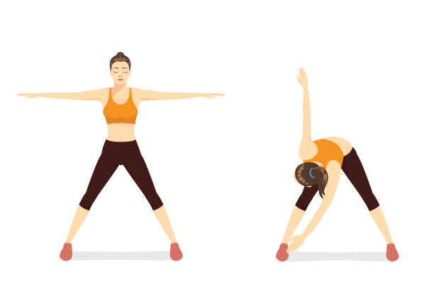 Woman doing exercise with cross body toe touches in 2 Step. vector art illustration